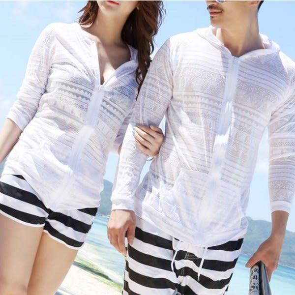梨卡★現貨 - 沙灘罩衫-泳衣比基尼。情侶款超薄長袖 透明防曬外套罩衫/單件C5019
