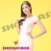 【SHOWCASE】V領滑緞拼接合身曲線洋裝(粉)