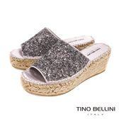 Tino Bellini 西班牙進口閃耀碎鑽麻編楔型涼拖鞋 _ 銀灰 A83020 歐洲進口款