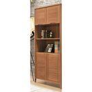 【森可家居】米堤柚木紋2.7尺四門書櫥 8SB225-2 書櫃