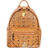 MCM Diamond Visetos 鑽飾鉚釘設計後背包(小/棕色) 1720023-B3