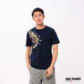 BIG TRAIN 纏月姬圓領短袖-男-深藍