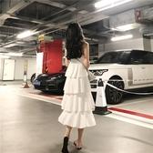 港味chic洋裝子韓版氣質中長款V領層層連身洋裝白色吊帶蛋糕洋裝女   蘑菇街小屋