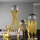 現代北歐簡約輕奢水晶球創意家居裝飾品樣板間客廳玄關風水球擺件 樂活生活館