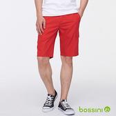 素色側邊口袋休閒短褲暗紅-bossini男裝