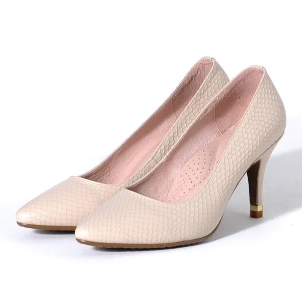 GREEN PINE 經典美型時尚尖頭細高跟鞋-米色