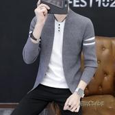 假兩件針織開衫男韓版潮流拼色男士毛衣秋季新款青年男裝上衣外套「時尚彩虹屋」