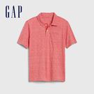 Gap男童輕柔條紋短袖POLO領上衣539250-珊瑚紅