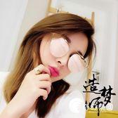 韓版新款時尚金屬太陽鏡女個性潮牌大框男士反光墨鏡圓臉防紫外線-奇幻樂園