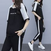 折后價不退換T恤套裝XL-5XL中大尺碼33405韓版mm200斤穿時尚減齡顯瘦連帽套裝韓依紡