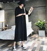 特賣款不退換長版寬鬆T裙L-4XL中大尺碼32400夏裝大碼女裝遮肚連衣裙減齡顯瘦很仙法式複古裙子
