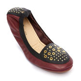 Yosi Samra 真皮樂福鞋鉚釘拼接摺疊款 酒紅色