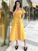 洋裝-夏新款韓版氣質名媛一字領荷葉邊收腰單排扣A字連身裙中長裙 Korea時尚記