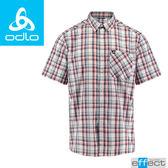 【ODLO 瑞士 男款 銀離子短袖襯衫《白/藍/橘紅格》】592522/格紋襯衫/防紫外線/吸濕排汗★滿額送