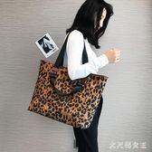 手提包 單肩包豹紋包女大包包新款韓版潮時尚百搭大容量托特包 df6811【大尺碼女王】