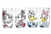 迪士尼時尚 米奇米妮唐老鴨黛絲透明水杯玻璃杯套裝1套-dis