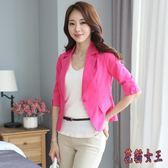 西裝外套 小西裝女士西服短款夏季薄款修身黑白韓版chicTA562【花貓女王】