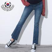 【愛天使孕婦裝】正韓國空運(62434)超彈 褲腳剪破小喇吧孕婦牛仔褲 孕婦褲(可調腰圍)