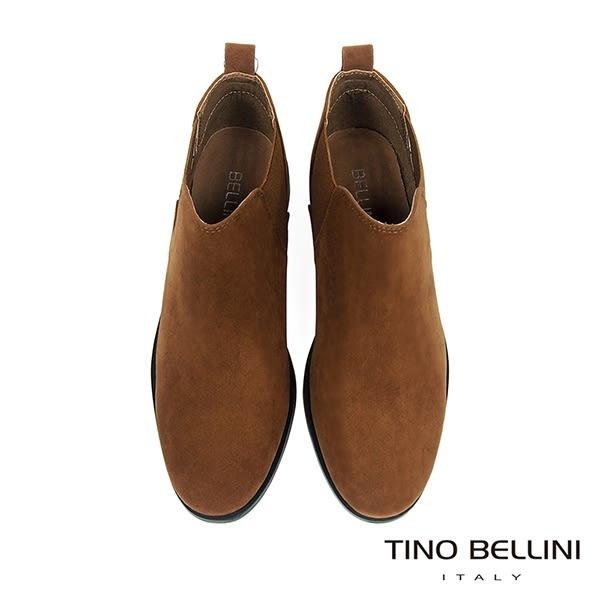 Tino Bellini 簡約質感布料低筒切爾西靴 _ 棕 FS8502