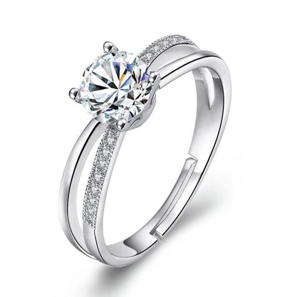 韓版時尚戒指 開口鑲鑽交叉指環個性飾品 銀女士手飾《小師妹》ps482