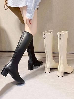 【12H出貨 免運】白色高筒靴女士不過膝長靴2021新款顯瘦涼靴粗跟高跟復古方頭靴子 妮妮