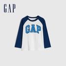 Gap男幼童 Logo撞色插肩袖圓領長袖T恤 663825-白色