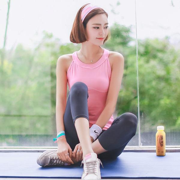 韓國春夏新款瑜伽服套裝三件套女短袖背心休閒運動跑步健身喻咖服   -cmx0033