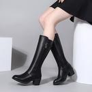 長靴女冬真皮高筒靴高跟粗跟長筒靴
