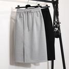 灰色彈力半身裙2021春夏新款高腰中長款一步裙開叉休閒包臀長裙女 果果輕時尚
