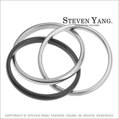 戒指STEVEN YANG西德鋼飾 三環酷黑鋼 時尚個性款 可做項鍊尾戒