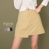 PUFII-褲裙 下擺不對稱素面短褲裙-1022 現+預 秋【CP19345】