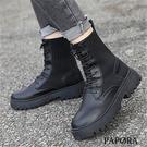 PAPORA經典綁帶裝飾馬丁靴中筒騎士短靴KQ7256