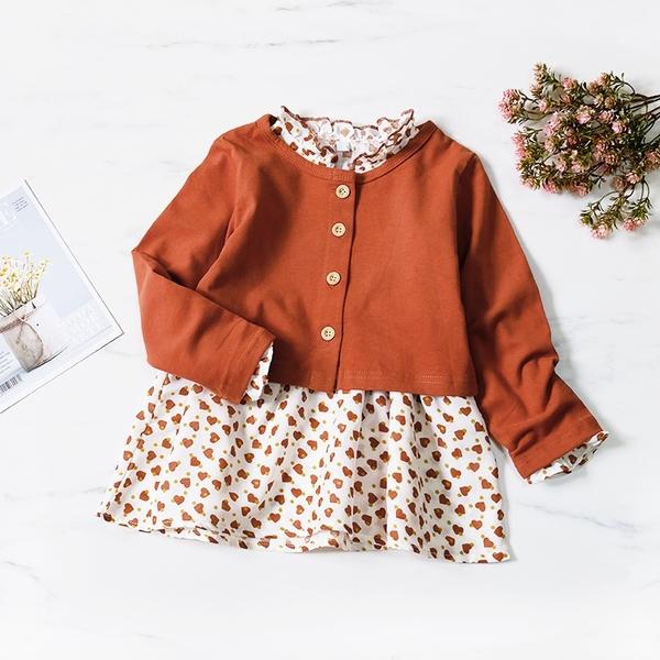 秋氛愛心木耳花邊洋裝套裝 兩件式 小外套 開衫 洋裝 女童裝 女童洋裝 韓版 棉麻 連衣裙 連身裙