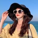 黑色漁夫帽早春女太陽帽夏遮臉大檐百搭防曬防紫外線大沿遮陽帽子