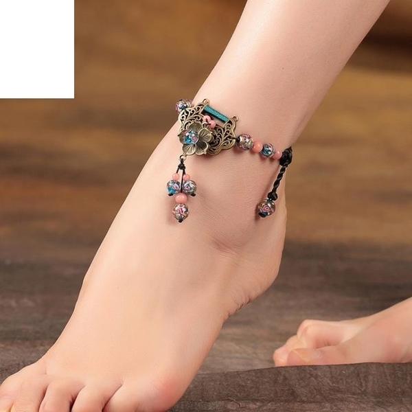 民族風腳鏈女長命鎖復古風裝飾品個性百搭夏季足鏈腳踝鏈腳飾女
