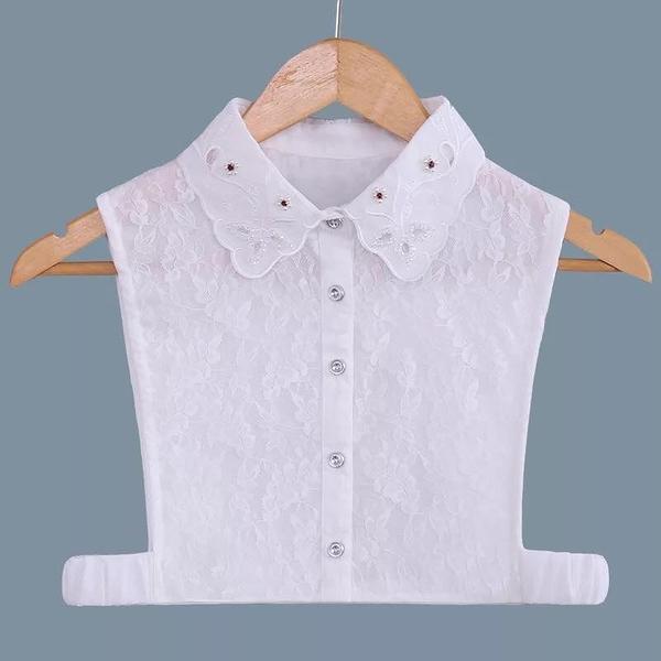 假領子假領片假衣領 華麗寶石緹花款 帽T洋裝襯衫針織大學T外套內搭白色[E1230] 預購.朵曼堤洋行