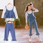 女童秋裝新款洋氣牛仔套裝9中大童韓版7時尚潮衣服13歲兒童裝【居享優品】