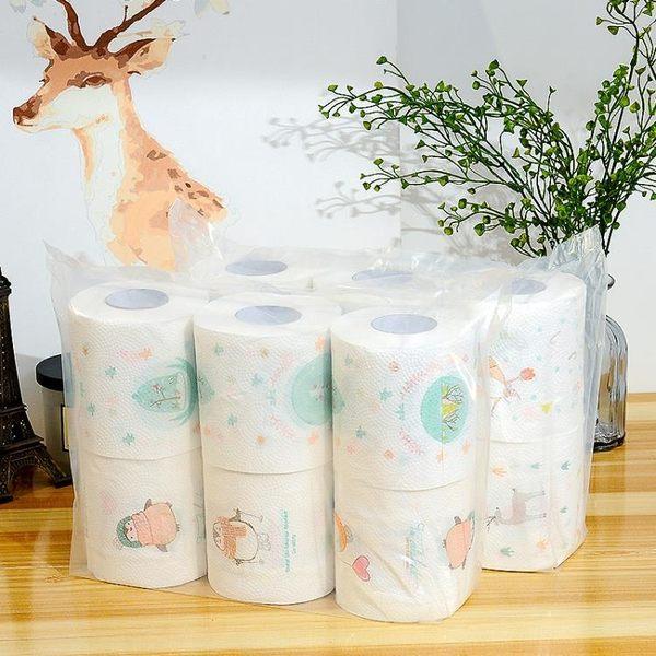 家用無香廁所卷紙印花衛生紙創意嬰兒卷筒紙有芯餐巾擦手紙批發【奇貨居】