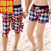 情侶款海灘褲(單件)-防水衝浪笑臉印花創意設計男女短褲66z30【時尚巴黎】