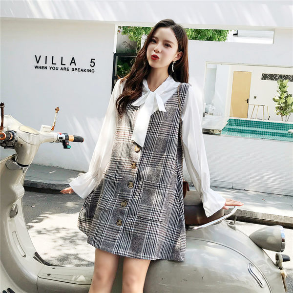 VK旗艦店 韓系寬松格子馬甲系帶襯衣套裝長袖裙裝