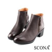 SCONA 蘇格南 全真皮 簡約雙側拉鍊厚底短靴 咖啡色 8789-2