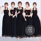 伴娘服 黑色禮服女新款冬季韓版長袖姐妹團...
