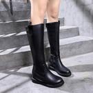 2019秋冬季新款高筒靴女英倫馬丁靴女靴中跟長筒軍靴 喵可可
