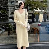 出清特價【A02200136】YV領坑條針織洋裝4色