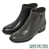 U15-20025 女款全真皮低跟短靴靴  翻領垂墜方形壓克力水鑽全真皮低跟短靴【GREEN PHOENIX】