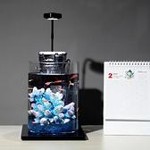 水族箱 辦公桌面創意魚缸水族箱生態魚缸小型迷你玻璃熱帶金 晶彩 99免運LX