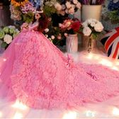 芭比娃娃套禮盒超大單個拖尾仿真婚紗公主女孩兒童玩具生日禮物 全網最低價最後兩天igo