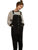 春裝韓版女裝兩件套條紋百搭長袖T恤寬松顯瘦減齡休閑背帶褲套裝
