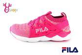 FILA 運動鞋 女童 大童 鬆緊襪套式 慢跑鞋 O7648#桃紅◆OSOME奧森童鞋