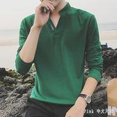 中大尺碼長袖POLO衫 秋季男士t恤立領衣服有領男polo衫大碼男裝 nm11407【Pink 中大尺碼】